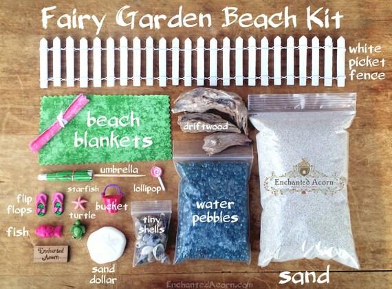 Superbe Blue Beach Fairy Garden Kit Large   Miniature Beach Garden Kit Fairy  Accessories Mini Beach Wedding Theme Dollhouse Terrarium Supplies