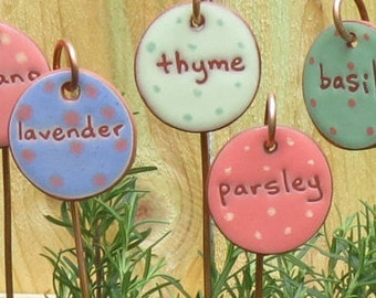Herb Markers, 3 Herb Markers, Herb Stake, Ceramic Herb Marker, Herbs, Herb Stakes, Plant, Plant Markers, Garden Art, Cooking Gifts
