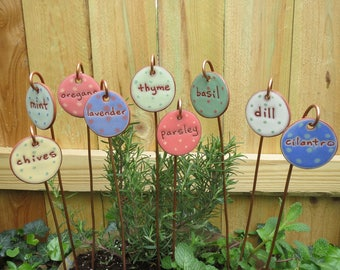 Custom Herb Markers, 6 Markers, Herb Stake, Handmade, Herb Garden, Herb Stakes, Herb Garden Markers, Garden Art, Cooking Gift, Plant Markers