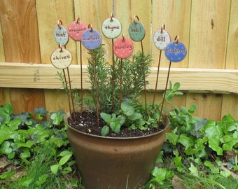 Herb Markers, 9 Of Any Herbs, Herb Stake, Herb Garden Marker, Herb Stakes, Plant Marker, Herb Garden, Garden Gift, Plant Marker, Herb Pot