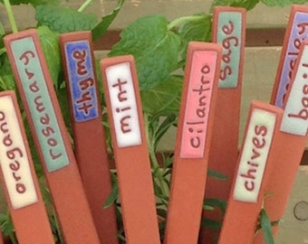 Herb Markers - 6 Herb Markers - Handmade - Herbs - Unique - Herb Stakes - Plant Markers - Garden Art