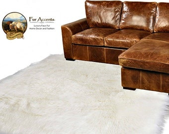 Plush Faux Fur Area Rug - Luxury Fur Thick Shag Sheepskin - White - Bonded Ultra Suede Non Slip Lining - Rectangle - Fur Accents USA