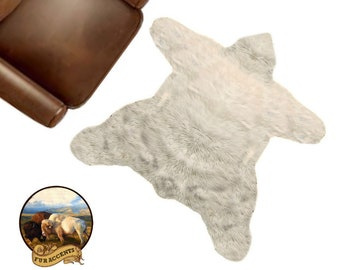 NEW Americana Bear Skin Area Rug -  Plush Faux Fur - Thick Fur -  Bonded Non Slip Back - Animal Pelt Shape Designer Throw - Fur Accents USA