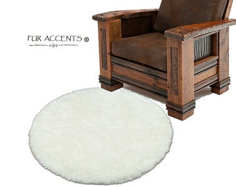 Plush Faux Fur Area Rug - Shaggy Sheepskin - Round - Designer Throw Carpet - Art Rugs by Fur Accents - USA