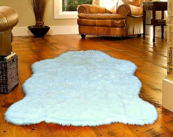 Plush Faux Fur Area Rug - Luxury Fur Thick Shaggy Bear Skin - Faux Fur - Animal Pelt Shape Designer Throw Rug - Fur Accents - USA