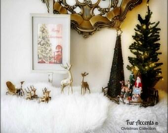 Shaggy- Shag- Faux Sheepskin- Random Shape White -Hand Made by Fur Accents USA Plush Classic Faux Fur Christmas Tree Skirt