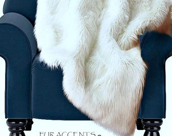 Fur Accents Faux Fur Throw Blanket /Multiple colors and sizes available/ Cuddle Minky Lining