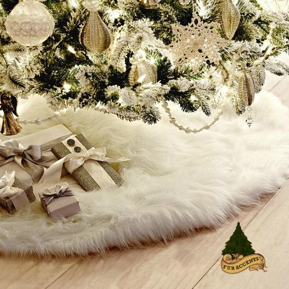Bright Rainbow Tree Skirt Round Scallop Shaggy Faux Fur Handmade Christmas Holiday Decors 28 36 48 58