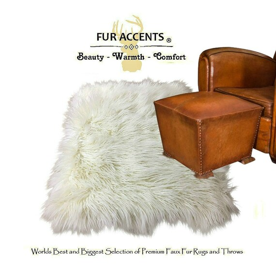 Plush Faux Fur Area Rug Luxury Fur Thick White Shaggy
