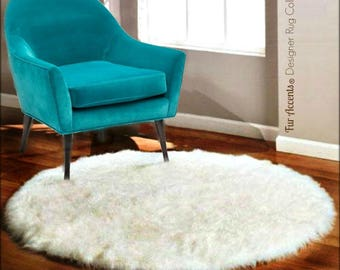 Plush Faux Fur Area Rug - Shaggy Sheepskin - Round Shape - Designer Throw Carpet - 6 Colors -Art Rug by Fur Accents - USA