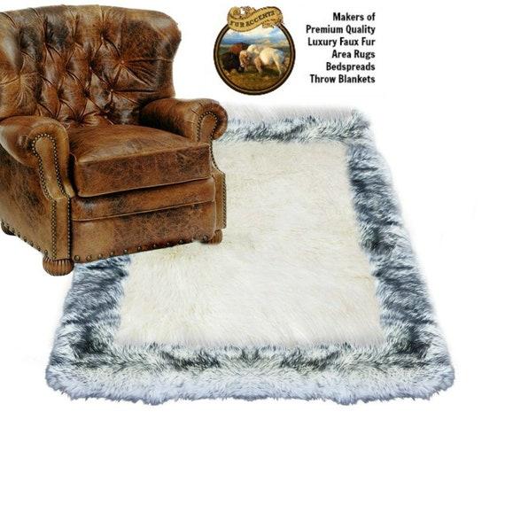 Plush Faux Fur Throw Area Rug White Shag Sheepskin With Black Tip Arctic Wolf Fur Border Trim Ultra Suede Lining Fur Accents Usa