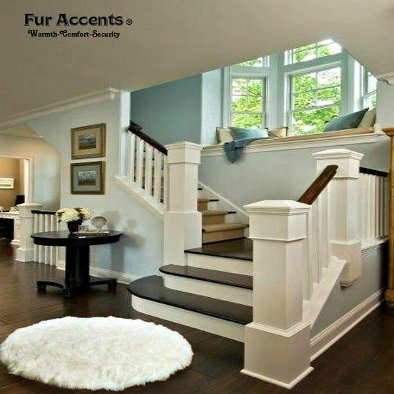 Plush Faux Fur Area Rug Shaggy Sheepskin Round Shape Designer Throw Carpet 6 Colors Art Rug By Fur Accents Usa