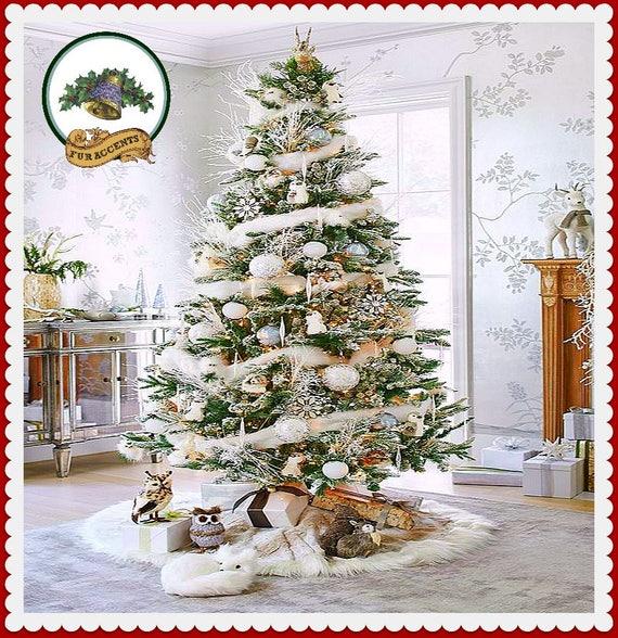 Classic Faux Fur Christmas Tree Skirt Shaggy Shag Faux Etsy