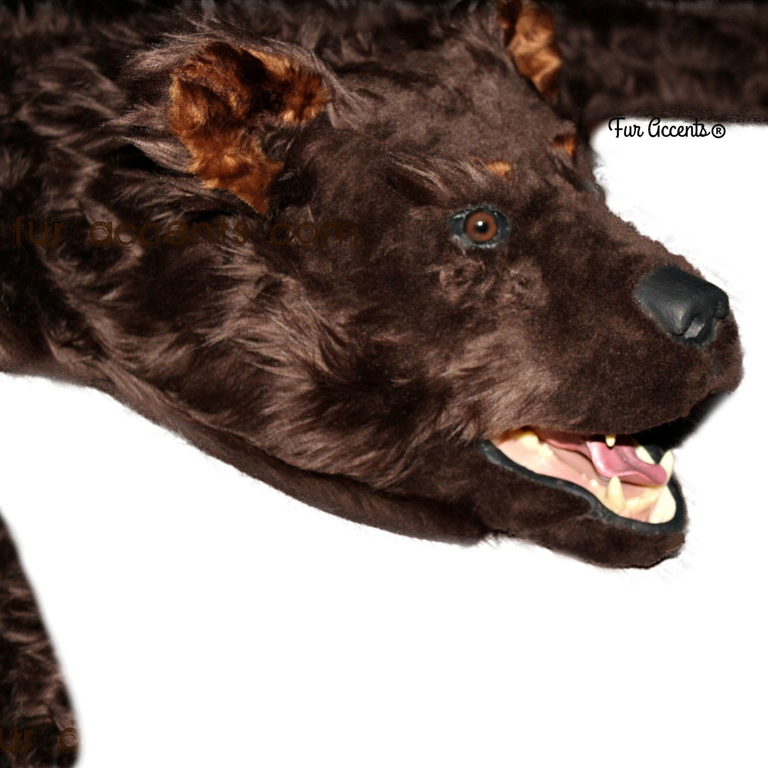 Bear Skin Rug, Life Size, Realistic Faux Fur, Brown