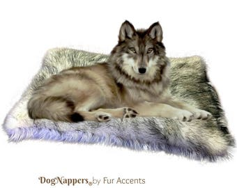Shaggy Soft Black Tip Wolf Faux Fur DogNapper Dog Bed - Cat Mat - Reversible - Padded Plush Shag Fur Lining - Fur Accents USA