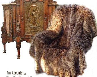 Plush  Faux Fur Throw Blanket - Light Brown Wolf Fur - Bedspread - Luxury Fur -  Minky Cuddle Fur Lining Fur Accents USA