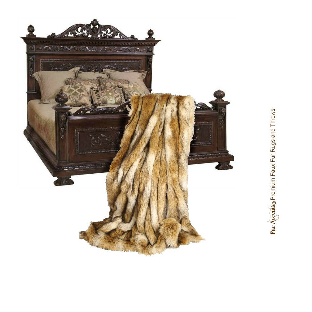 Peluche Faux Fur Throw Blanket Golden Ivory Coyote Stripe Throw Blanket -Bedspread Luxury Fur - Minky Cuddle Fur Lining Fur Accents Usa