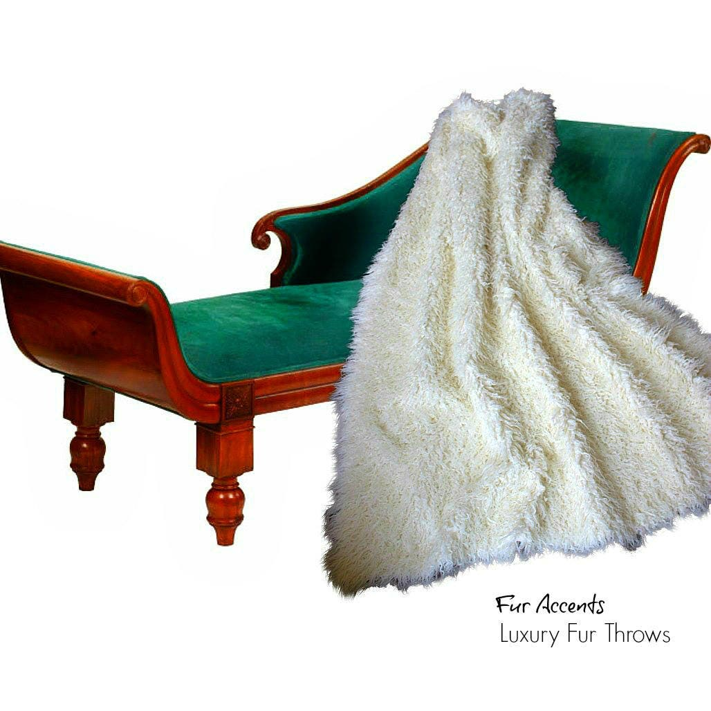 Passe-partout en peau de mouton mongol - jeté, fausse fourrure - Off White - fourrure doublure - Designer jet - Minky caresse Accents - USA