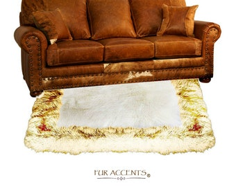 Plush Faux Fur Throw Area Rug - White Shag Sheepskin with Brown Tip Arctic Wolf Fur Border Trim - Ultra-Suede Lining - Fur Accents - USA