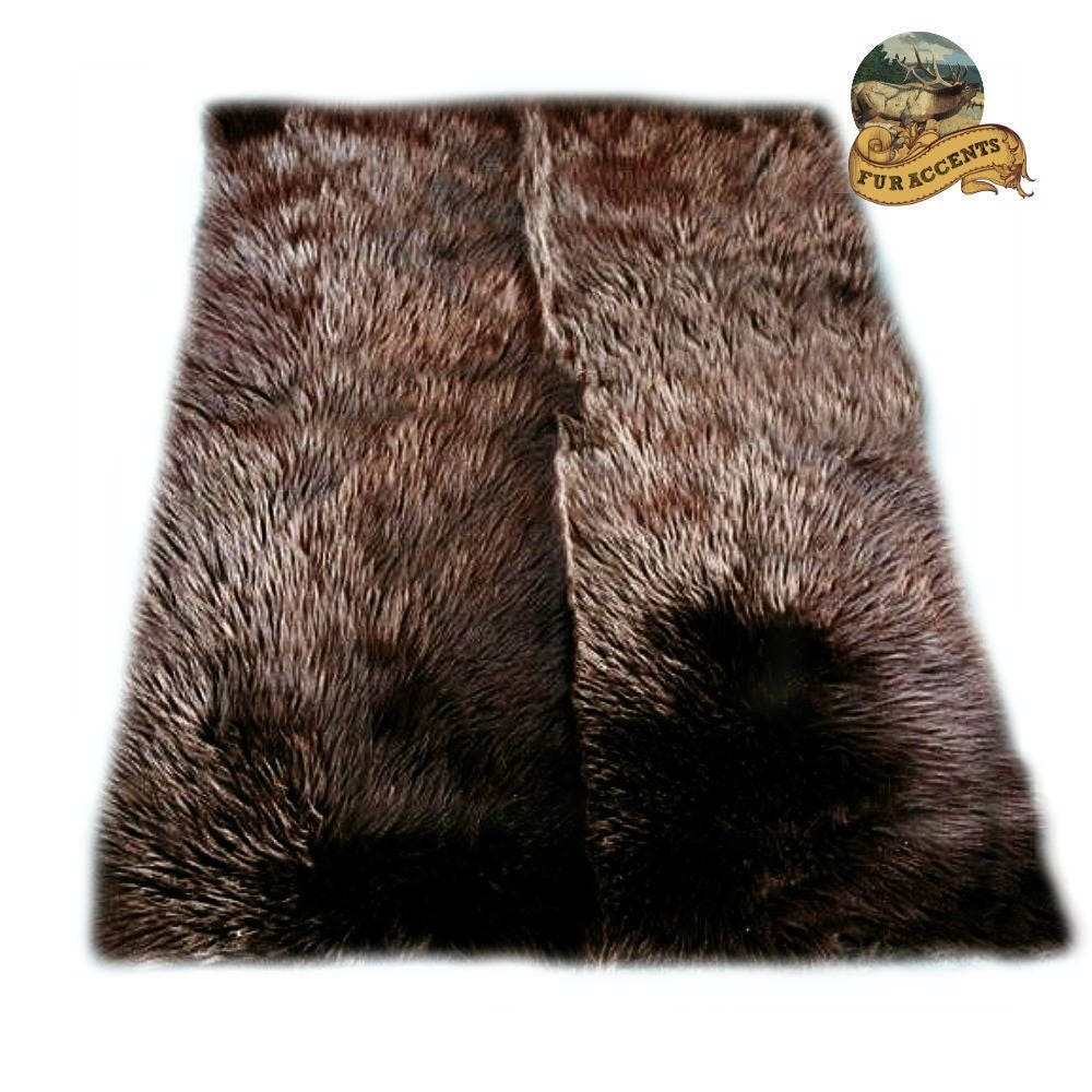 Plush Faux Fur Area Rug Shaggy Brown Bear Skin Rectangle