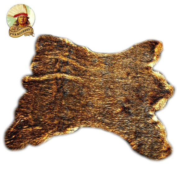 Plush Faux Fur Area Rug Luxury Fur Golden Brown Kodiak
