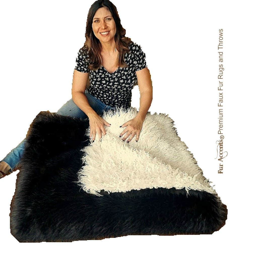 Peluche Super Thick Faux Fur Throw Blanket, Couvre-lit - Fourrure de luxe - Réversible - Ours brun - Buffalo - Peau de mouton mongole - Accents de fourrure Usa