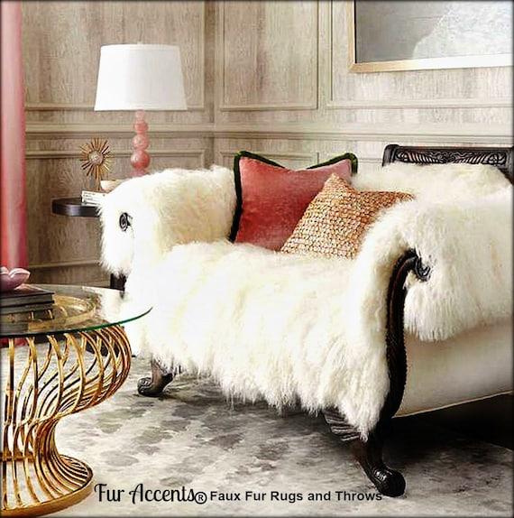 Charmant Shaggy Mongolian Sheepskin Throw Sofa Cover Chair Cover Premium Long Hair  Faux Fur Designer Shag Rugs And Throws By Fur Accents USA