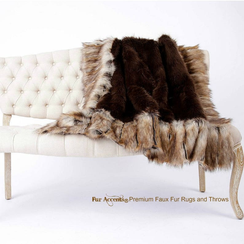 Brown Shag Bear with Light Brown Ribbed Fox Fur Border Trim Fur Accents Plush Faux Fur Throw Blanket Bedspread Minky Lining USA