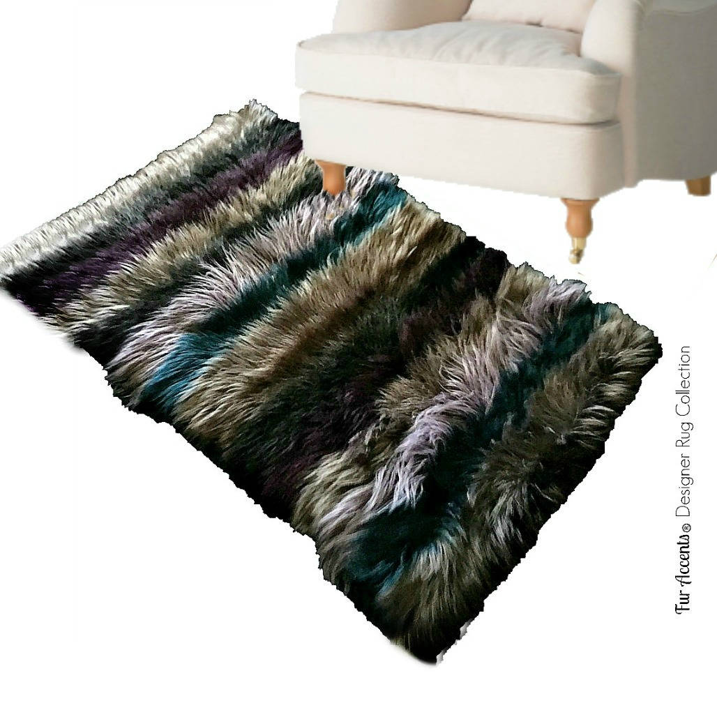 Plush Pieced Fur Strip Rug Shaggy Mongolian Sheepskin