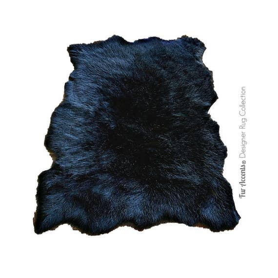 Plush Faux Fur Area Rug Tattered Edge Sheepskin Pelt