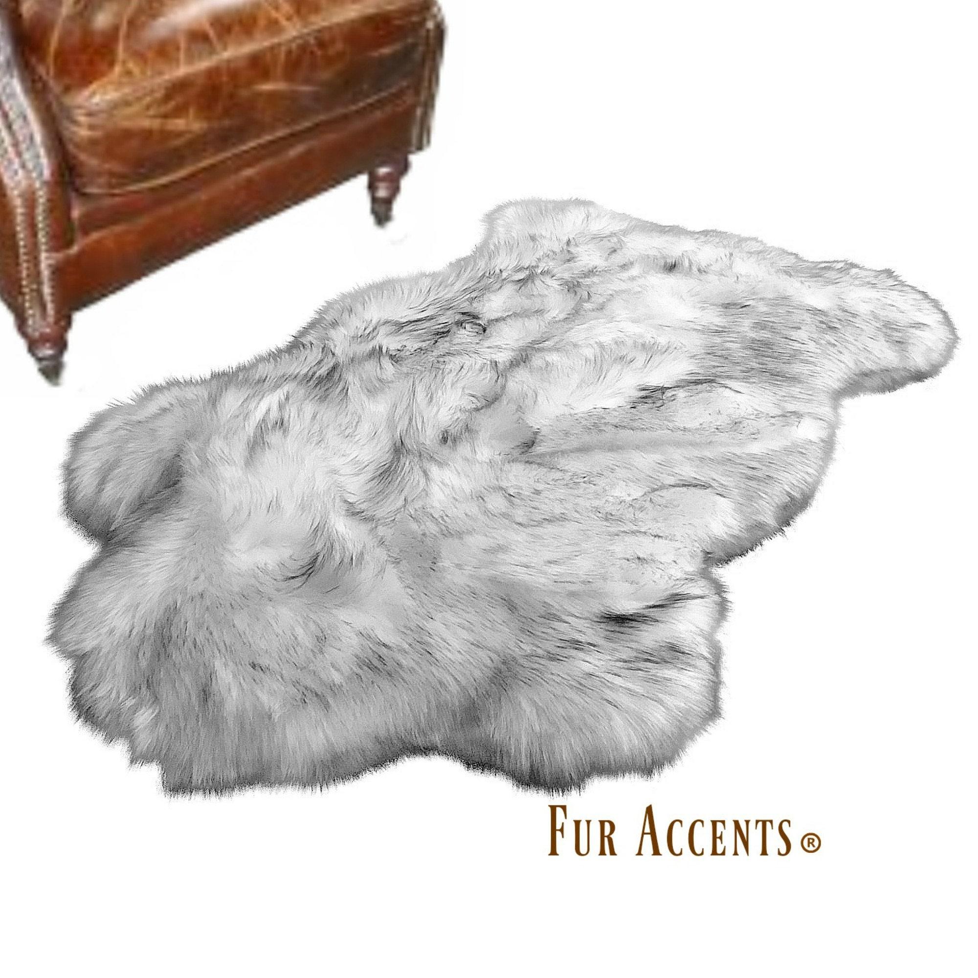 FUR ACCENTS Shaggy Black Sheepskin Area Rug  All Sizes