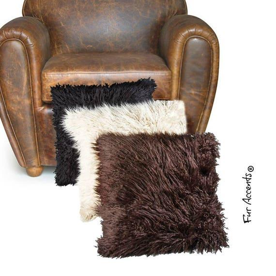 1 Plush Faux Fur Pillow Sham Cover Plush Shag Etsy