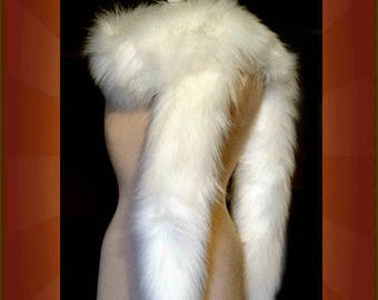 Stole / Cape / Collar / Shrug Scarf White Mink / Bridesmaid / Wedding Dress Faux Fox / Premium Luxury Faux Fur FUR ACCENTSby Fur Accents USA