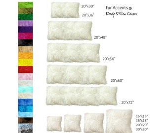 Plush Faux Fur Pillow - Sham - Cover - 10 New Sizes - Body Pillow Bolster Throw - Toss -  Inserts Not Included - Fur Accents USA