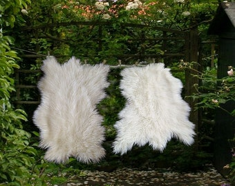 Plush Faux Fur Area Rug - Luxury Fur Thick Shaggy Random Shape Sheepskin - Single Pelt - White or Off White - Fur Accents USA