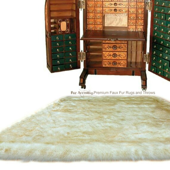 Plush Faux Fur Area Rug Luxury Fur Thick Gold Tip Shaggy