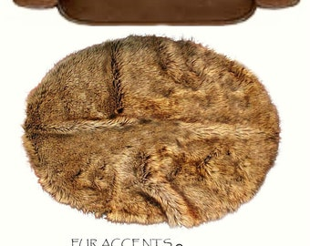 Fur Accents Faux Fur Animal Accent Round Rug/ Ultra suede lined/ Toss Rug