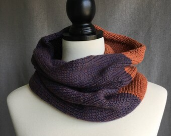 Fall, hand knit cowl, scarf, snood, infinity scarf, purple and orange