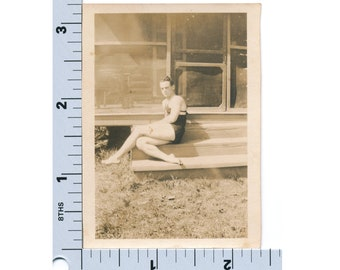 Vintage Photo - Handsome Young Man Sits on Cottage Steps in his Old Fashioned Bathing Suit Early 1900s