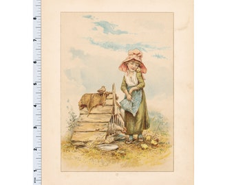 Vintage Book Plate - Girl with Chickens Hen and Chicks - Illustration by Mary Ellen Edward