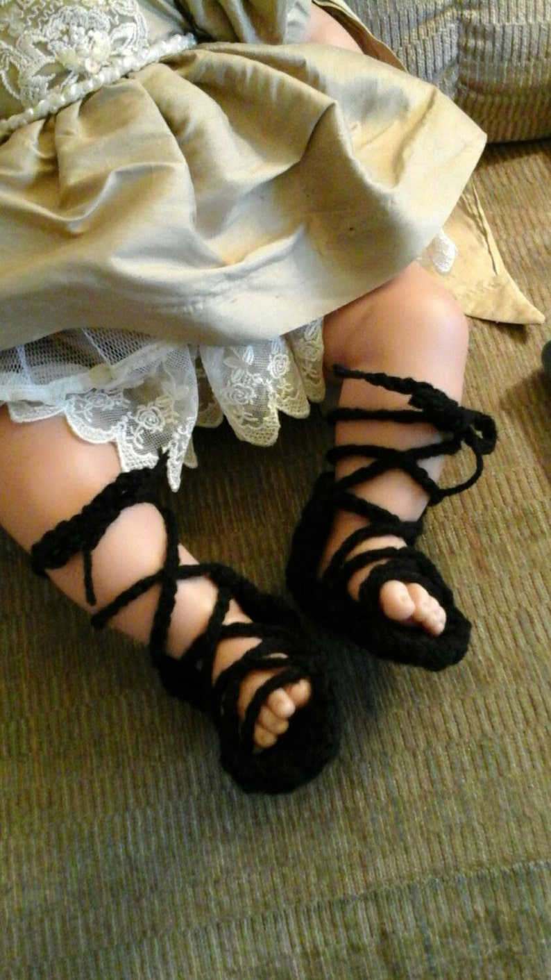 17b97a22ba2 Crocheted Gladiator sandals crochet baby sandals baby shoes