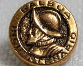 Antique Picture Button of the Spanish Explorer Balboa