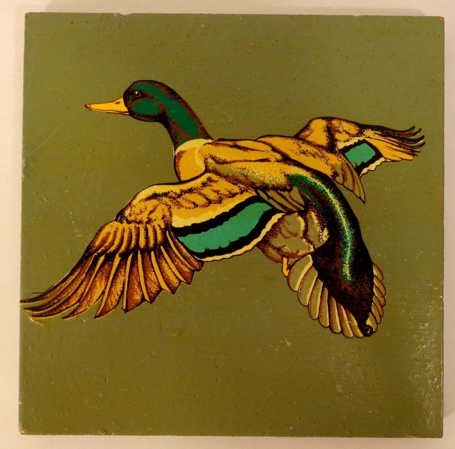 Vintage Murray Quarry Tile with Hand Painted Flying Mallard | Etsy