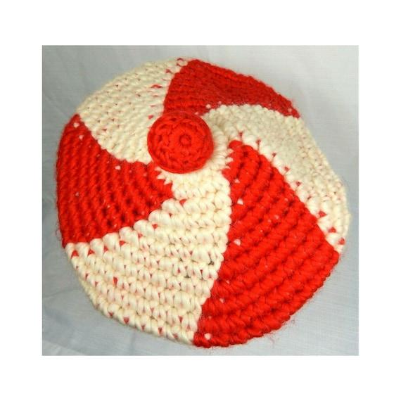 Lerner Vintage Beret Hat 60's Wool Knit Beret Red