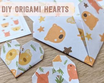 Aussie Animals Origami Hearts DIY - Printable PDF Instant Download