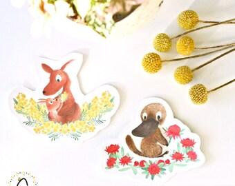 Removable Fabric Sticker Decals - Aussie Animals (Pack of 2)