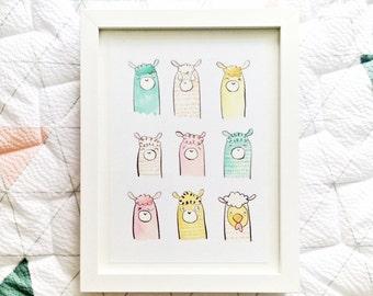 Llama Love A5 Art Print - Cute Children's Illustration