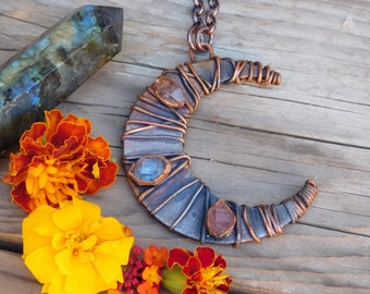 The Copper Crone Necklace // Electroformed Moon Pendant