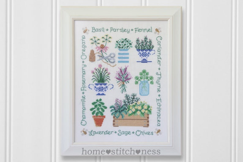 Garden Herbs Cross Stitch Sampler Kitchen Cross Stitch Herbs image 0