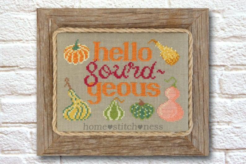 Gourd Cross Stitch Pattern  Autumn Fall Cross Stitch Design  image 0